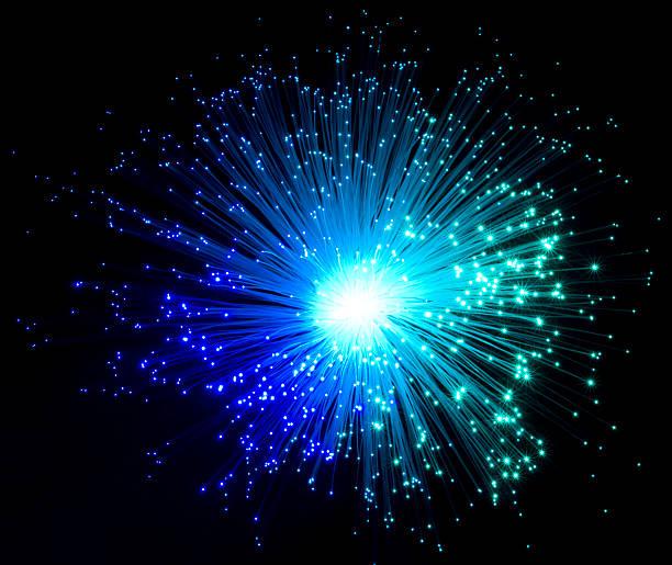 colorful illuminated optical fibers stock photo