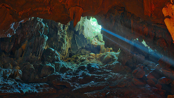 Colorful illumination in Dau Go cave in Halong Bay, Vietnam stock photo