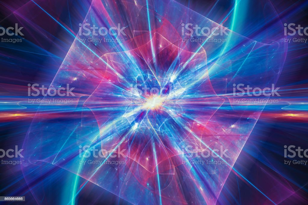 Colorful illustration of quantum theory stock photo