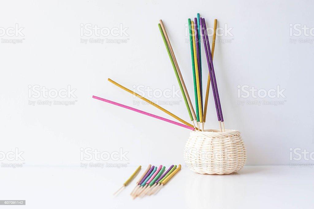 colorful incense stick stock photo