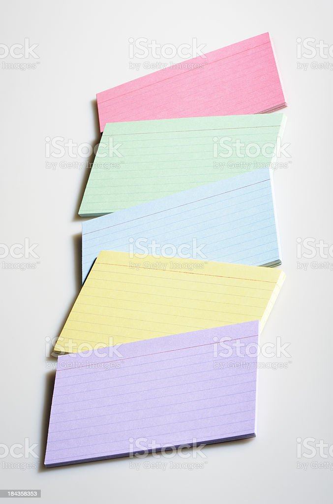 Colorful index cards royalty-free stock photo