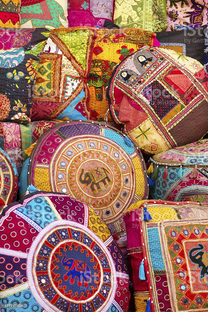 Colorful Indian pillows royalty-free stock photo