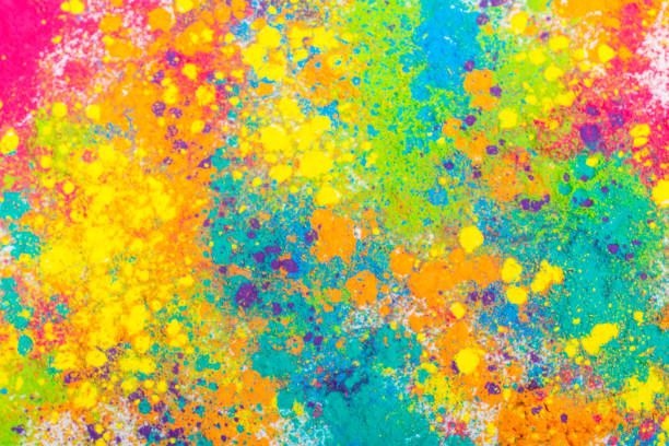 Colorful Indian powder paints Colorful Indian powder paints for Holi festival in wooden bowls colored powder stock pictures, royalty-free photos & images