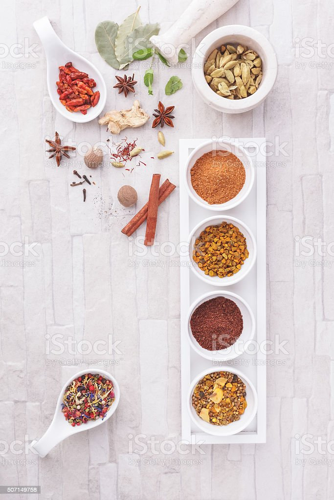 Colorful Indian spices stock photo