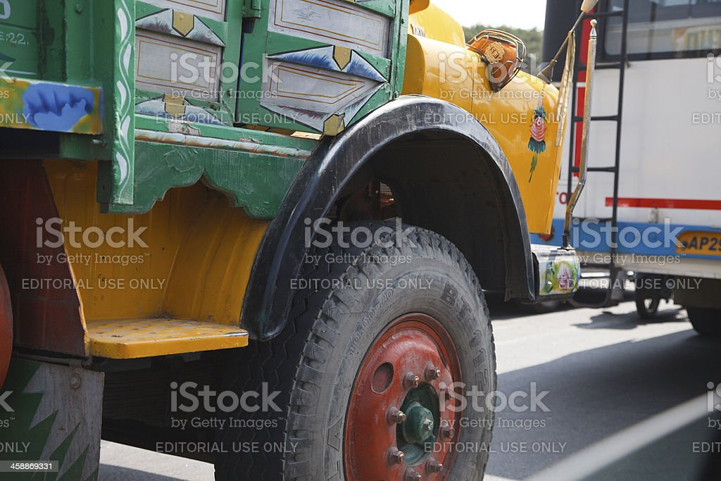 Colorful Indian trucks in Bangalore royalty-free stock photo