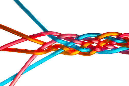 171053447 istock photo Colorful Individual Strands Join to Make Team, Union, Company, Family 524401437
