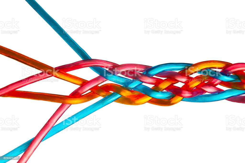Colorful Individual Strands Join to Make Team, Union, Company, Family stock photo