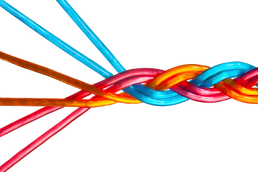 171053447 istock photo Colorful Individual Strands Merge Into Team, Union, Company, Family 524401435