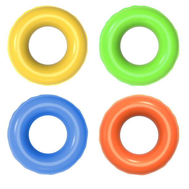 bunte aufblasbare ringen - pool rund stock-fotos und bilder
