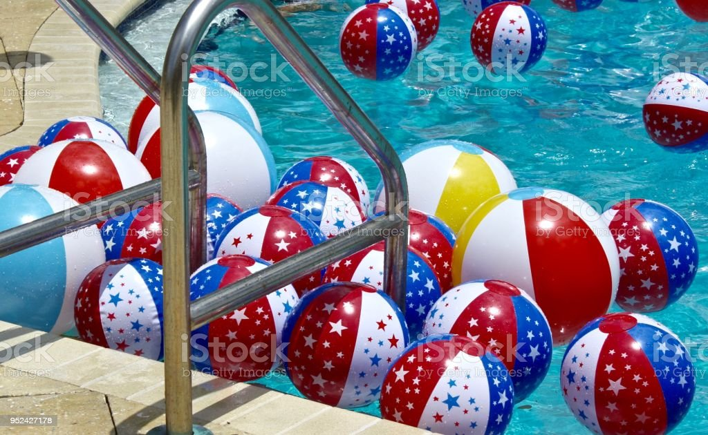 colorful inflated beach balls in swimming pool stock photo