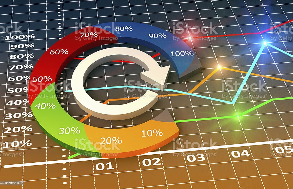 Colorful infographic chart of business-related elements stock photo