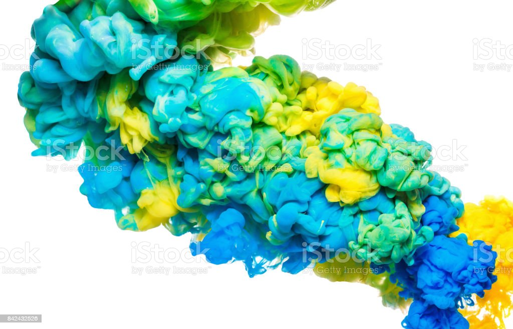 Colorful ink in water isolated on white. Abstract acrylic background. Color Paint liquid stock photo
