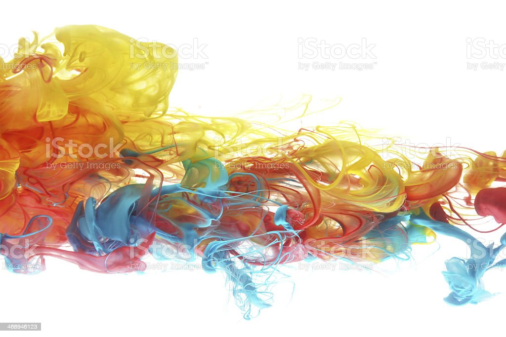 Colorful ink in water stock photo