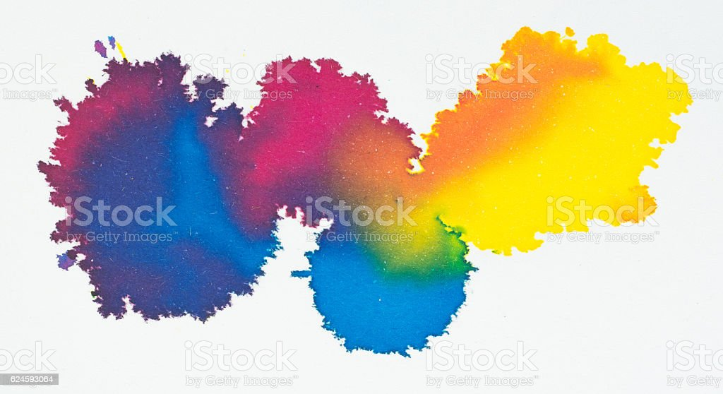 colorful ink water color acrylic paint on white background stock