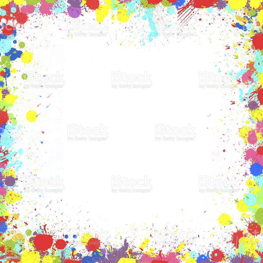 Colorful Inky Splash Frame Border Earnings Stock Photo