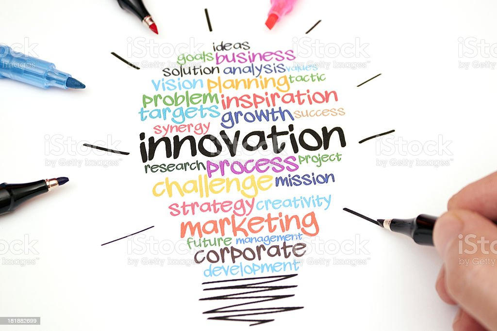 Colorful innovation light bulb drawing royalty-free stock photo