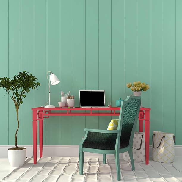 bunte interieur des home office - sessel türkis stock-fotos und bilder