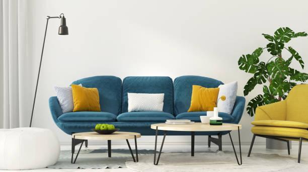 färgglad interiör av vardagsrum - blue yellow bildbanksfoton och bilder