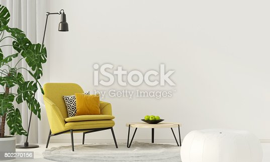 istock Colorful interior with a yellow armchair 802270156