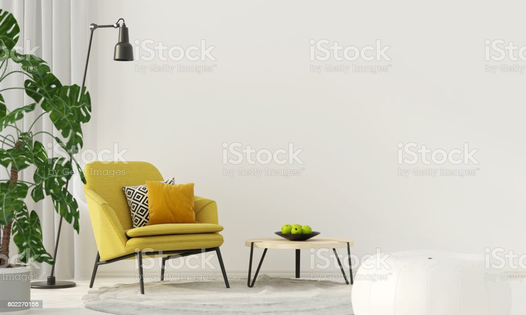 Colorful interior with a yellow armchair stock photo