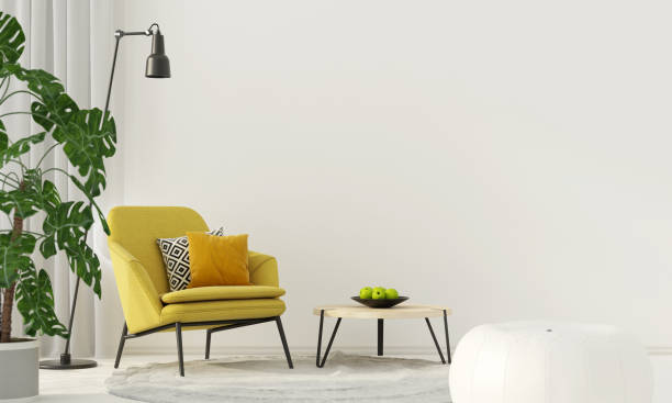 Colorful interior with a yellow armchair 3D illustration. Colorful interior with a yellow armchair armchair stock pictures, royalty-free photos & images