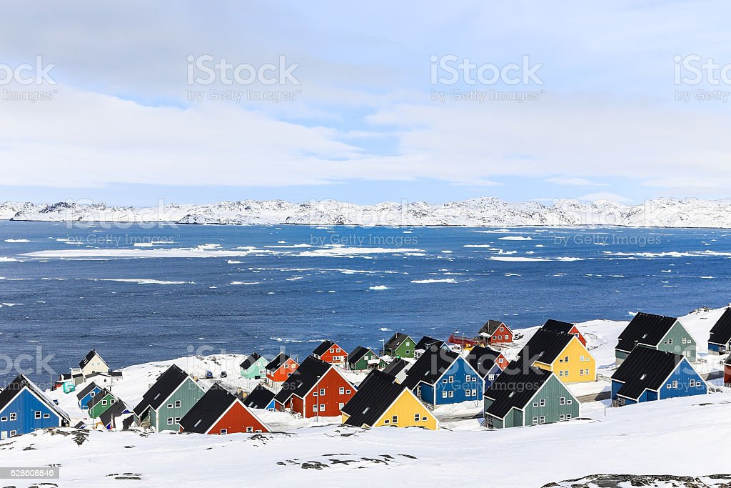 Colorful Inuit houses at the fjord, Nuuk stock photo