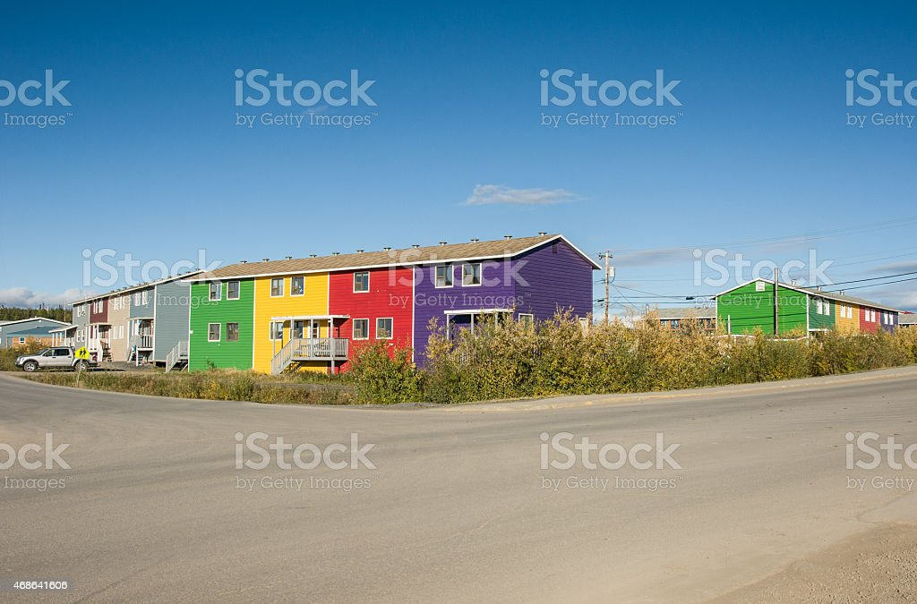 Colorful Inuvik apartments stock photo