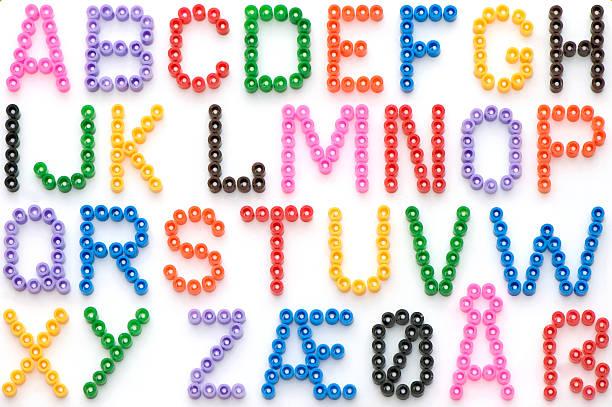 Colorful Iron Beads German Alphabet stock photo