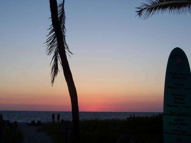 Colorful Island Sunset stock photo