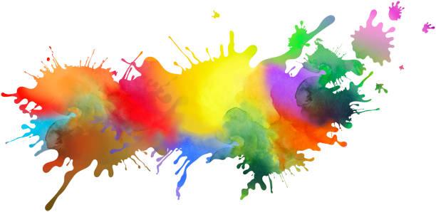 Farbig isoliert malen Muster und splatter Hintergrund mit Farbe läuft – Foto