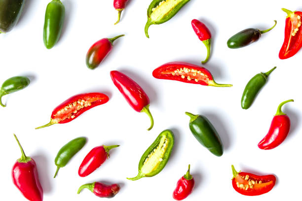 Colorful jalapenos peppers on white background