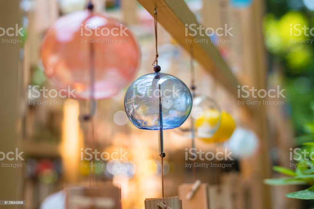 Colorful Japanese wind chimes , Summer feature of Japan stock photo