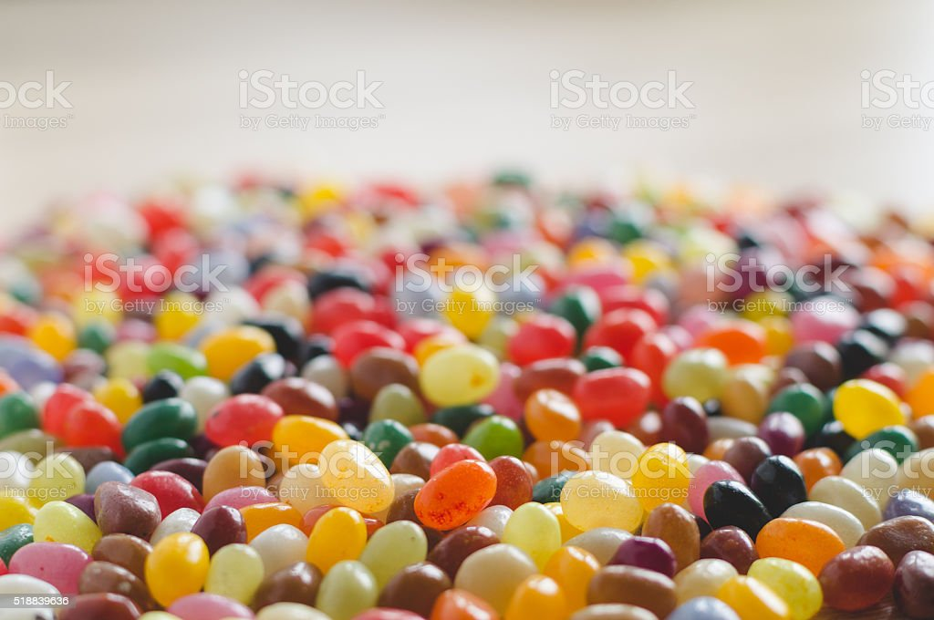 Colorful jelly beans side-view background stock photo