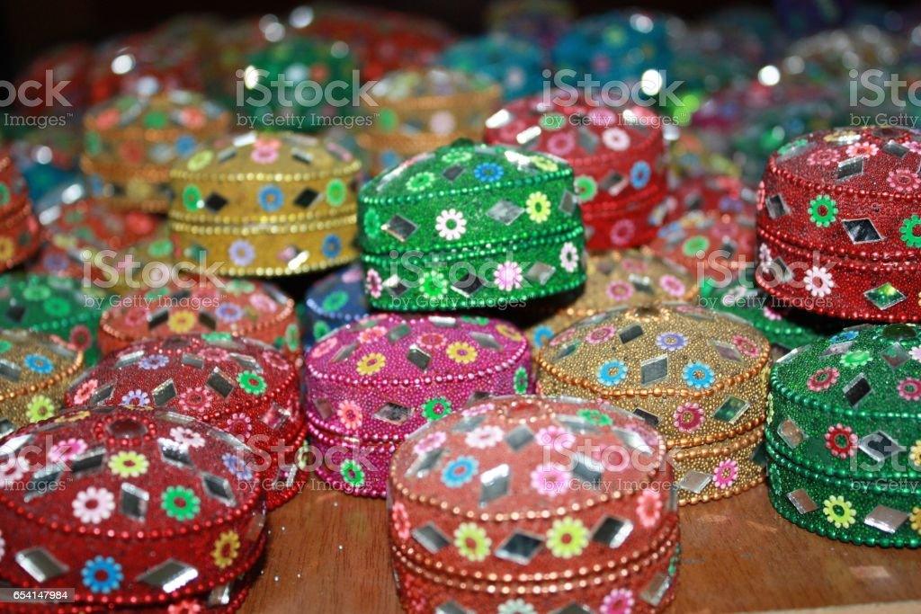 Colorful jewelry boxes at a Souk in Jordan stock photo