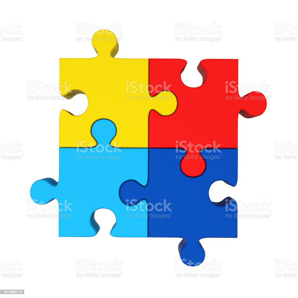 Colorful Jigsaw Puzzle Isolated stock photo