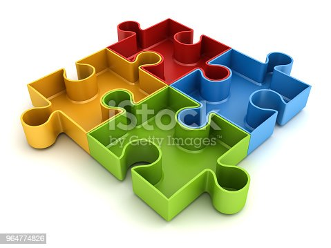 688372024istockphoto Colorful jigsaw puzzle pieces concept isolated on white background with shadow 3D rendering 964774826