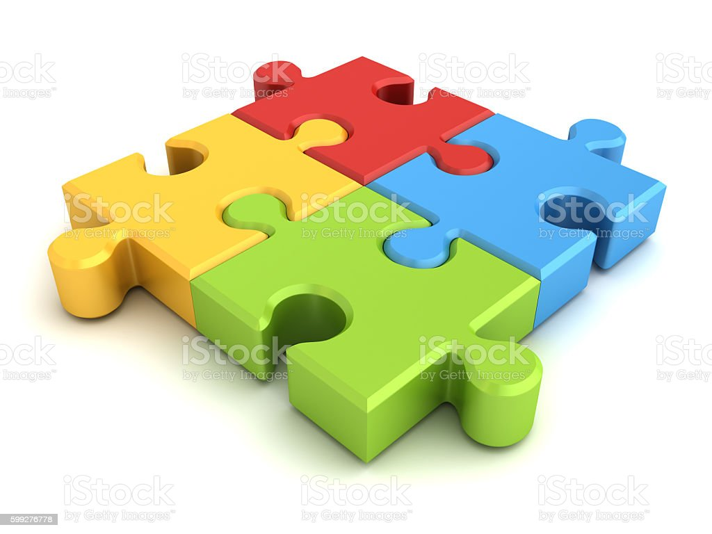 Colorful jigsaw puzzle pieces stock photo