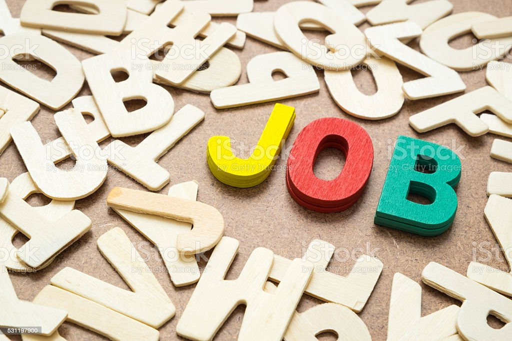 Colorful Job wording in uppercase letter stock photo