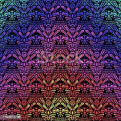 Colorful Kaleidoscope Seamless Pattern Abstract Shiva Mayan Mask Fun Holiday Background Computer Graphic Beautiful Fractal Fine Art
