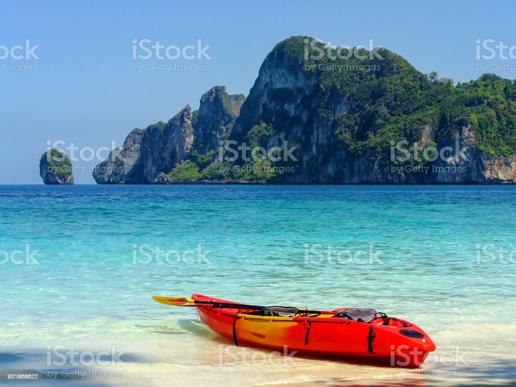 Colorful kayak at Ao Yongkasem beach on Phi Phi Don stock photo