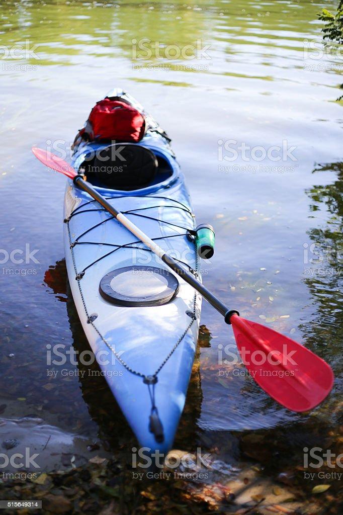 Colorful kayaks on the tropical beach. stock photo