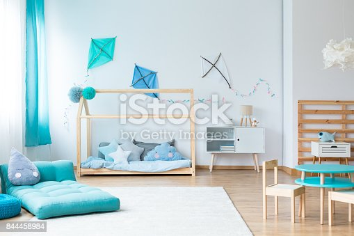 istock Colorful kids bedroom with kites 844458984
