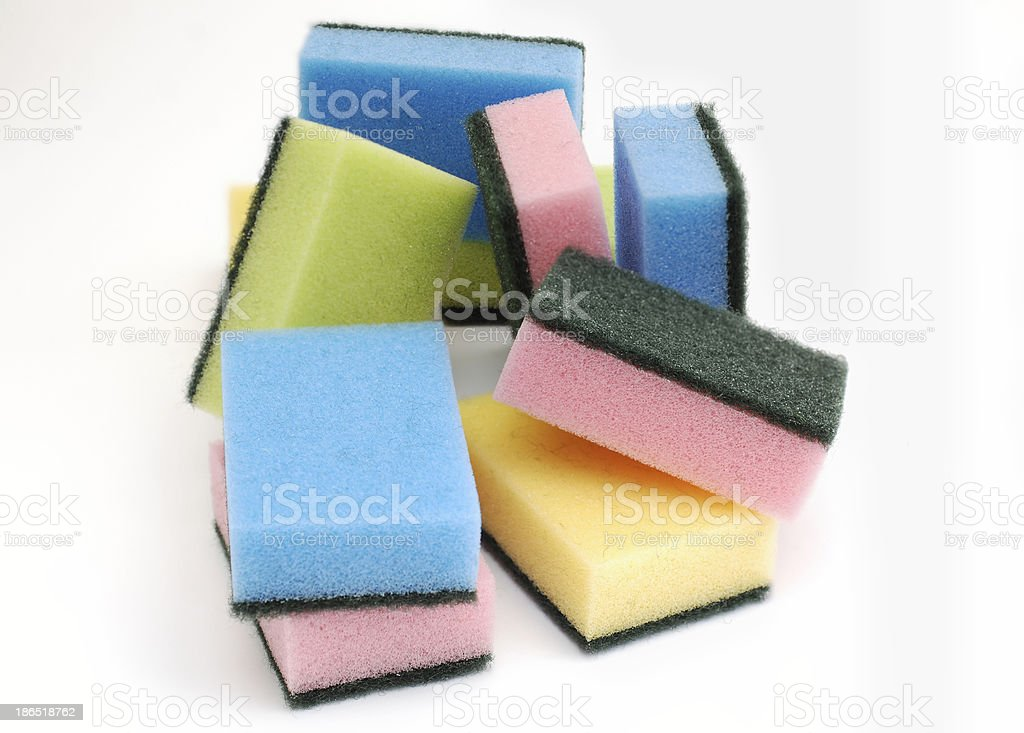 colorful kitchen sponges royalty-free stock photo