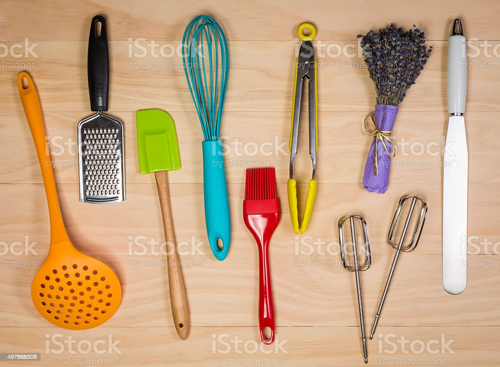 colorful kitchen utensils stock photo