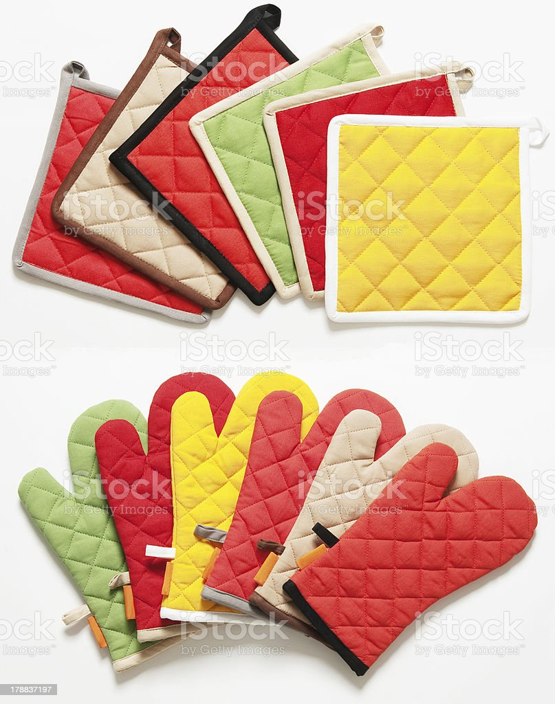 colorful kitchen wipes and gloves isolated on white background royalty-free stock photo