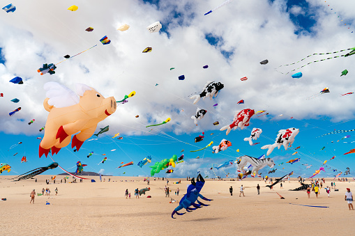 Colorful kites against a blue sky