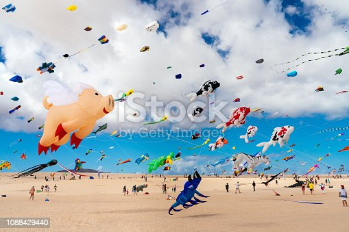 Kites flying at the International Kite Festival in Fuerteventura, Canary Islands, Corralejo, Spain, Kite