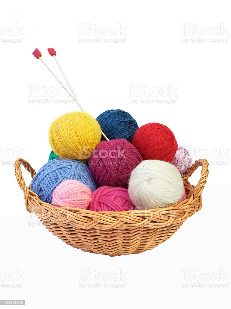 Colorful knitting yarn and needles in a basket royalty-free stock photo