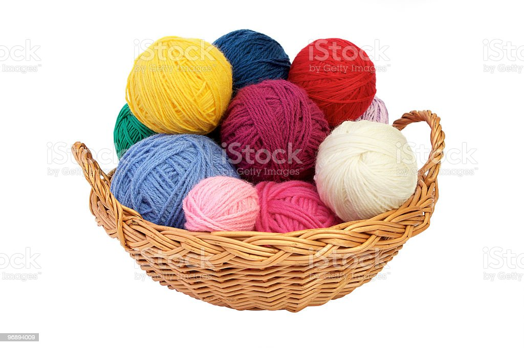 Colorful knitting yarn in a basket royalty-free stock photo
