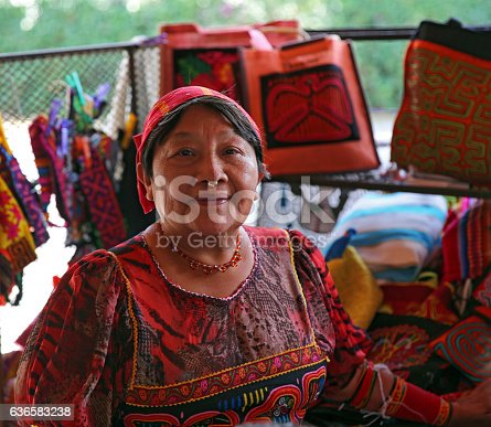Colorful Kuna artist selling her creations in the beautiful Rainforest Mountain village of El Valle de Anton, Panama. Central America. Kuna peoples are the indigenous people of Panama.